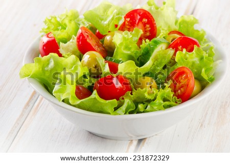 Fresh  vegetables salad. Selective focus - stock photo