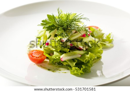 Fresh Vegetables Salad With Pesto Sauce