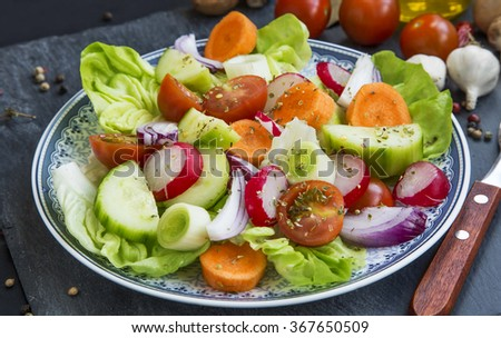 Fresh vegetables salad with radish,cucumber,tomatoes,lettuce,carrot,onions and spices - stock photo