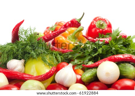 Fresh Vegetables. Shot in a studio. isolated on white