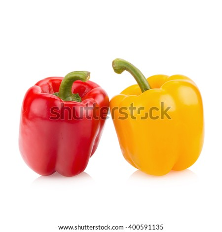Fresh vegetables sweet Red, Yellow, Peppers isolated on white background. - stock photo