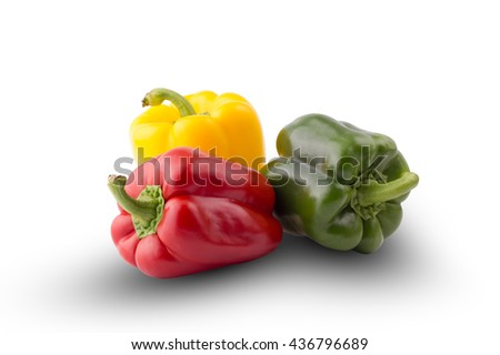 Fresh vegetables Three sweet Red, Yellow, Green Peppers isolated on white background - stock photo