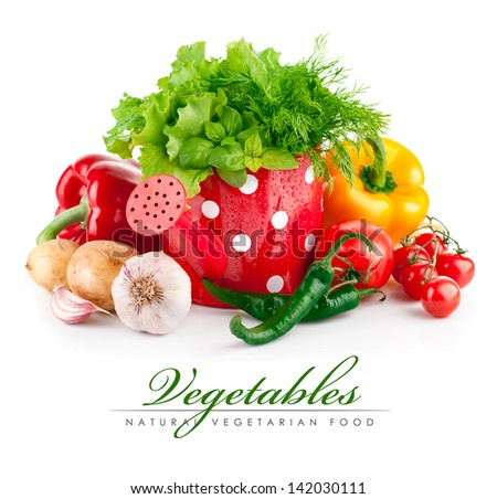 fresh vegetables with green herbs in watering can - stock photo