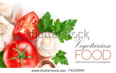 fresh vegetables with green leaf isolated on white background - stock photo
