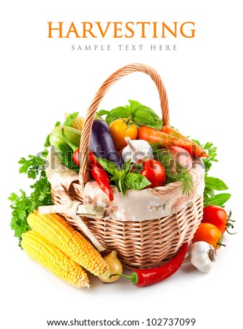 fresh vegetables with green leaves in basket isolated on white background - stock photo