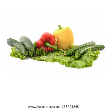 Fresh vegetables with lettuce - stock photo