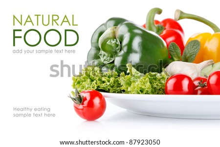 fresh vegetables with lettuce isolated on white background - stock photo