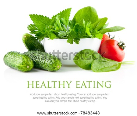 fresh vegetables with parsley and spinach in plate - stock photo