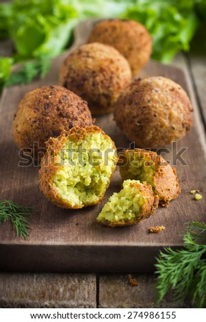 fresh vegetarian falafel  with tzatziki sauce,  selective focus - stock photo