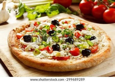 Fresh Vegetarian Greek Style Pizza - stock photo