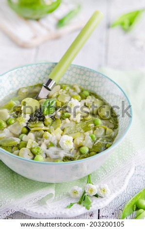 Fresh vegetarian Italian minestrone soup made of green beans, zucchini and other health vegetables - stock photo