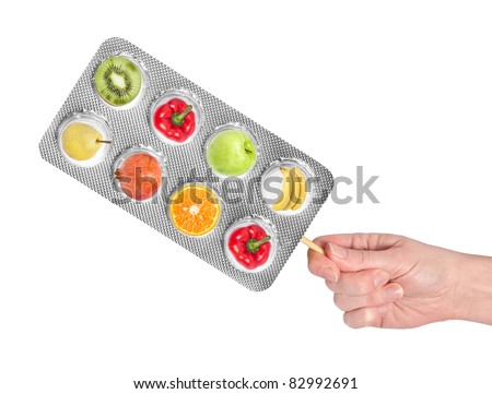 fresh vitamin, isolated on white - stock photo