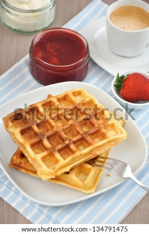 Fresh waffle with strawberries