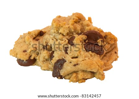 Fresh warm chocolate chip cookie isolated on white background - stock photo