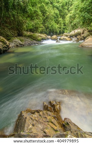 Fresh Water at Khao Sok National Park, ThailandDynamic view of a tropical bamboo forest in south Thailand(Un-focus image) - stock photo