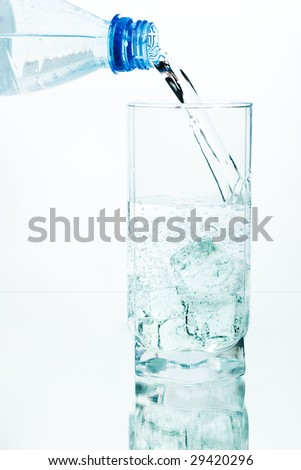 Fresh water being poured into a glass of ice