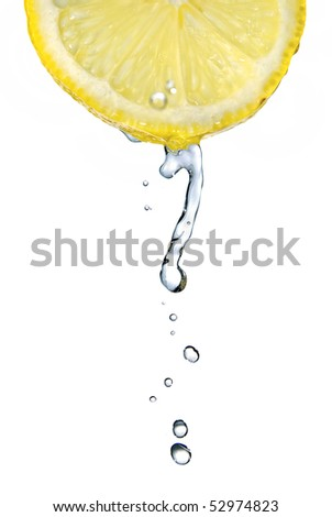 fresh water drop on lemon isolated on white - stock photo