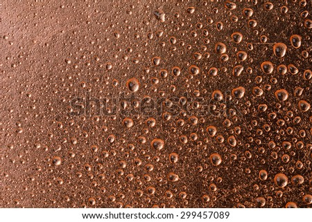 Fresh Water Drops dew on copper alloy texture surface showing freshness concept background - stock photo