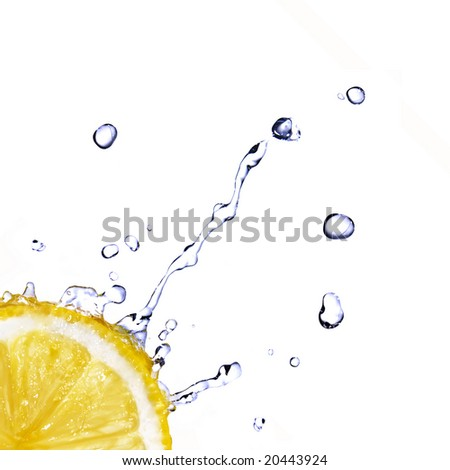 fresh water drops on lemon isolated on white - stock photo