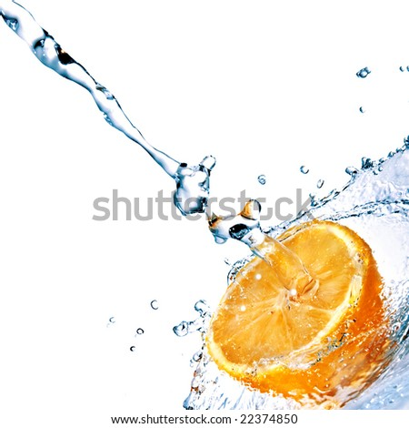 fresh water drops on orange isolated on white - stock photo