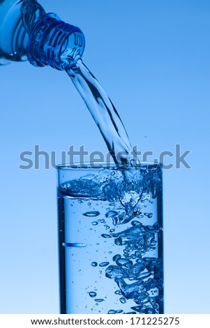 Fresh water - filling a glass with liquid