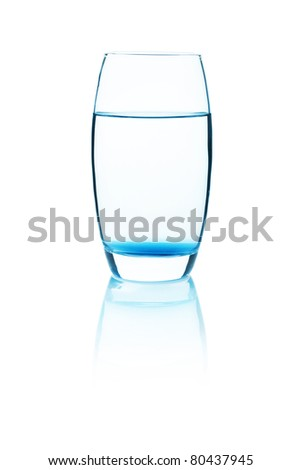 fresh water in glass. Isolated on white background - stock photo