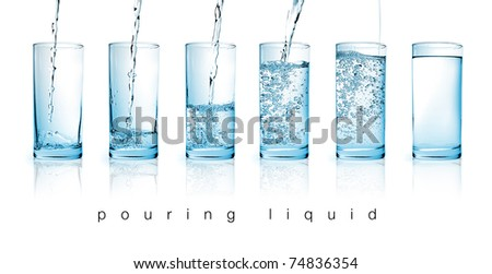 fresh water pouring in a glass on white background in sequence - stock photo