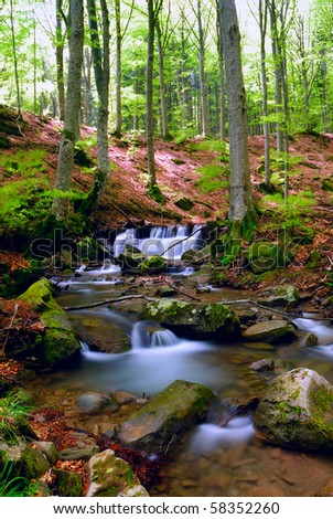 fresh water run ont he rocks in spring - stock photo