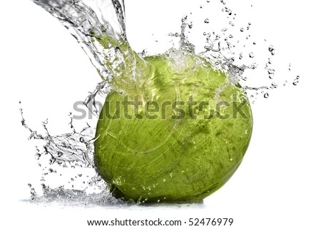 fresh water splash on coconut isolated on white - stock photo