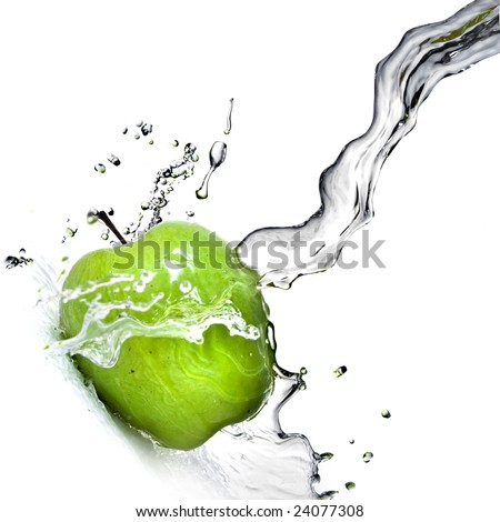 fresh water splash on green apple isolated on white - stock photo