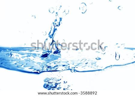 Fresh water splash on white background - stock photo