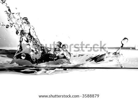 Fresh water splash on white background. B&W version - stock photo