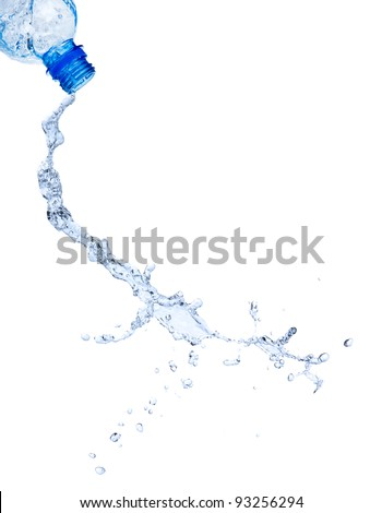 Fresh water splashing out of water, isolated on white background - stock photo