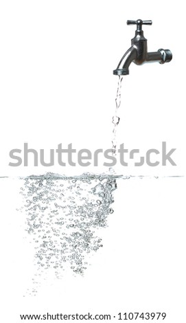 fresh water with faucet and bubbles - stock photo