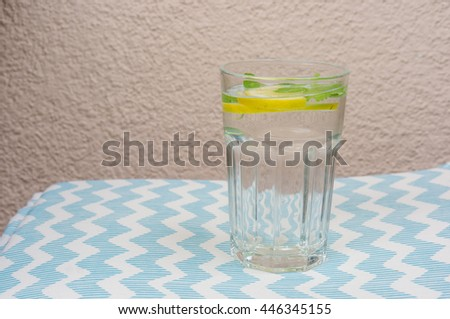 Fresh water with lemon and mint in a glass