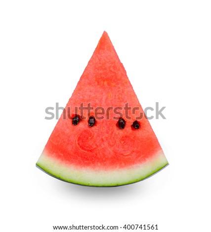 Fresh watermelon slice isolated on white background. - stock photo