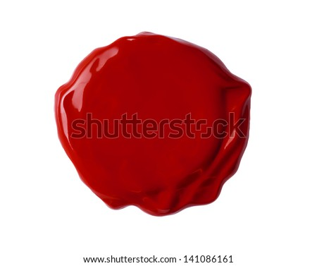 fresh wax seal isolated with clipping path included - stock photo