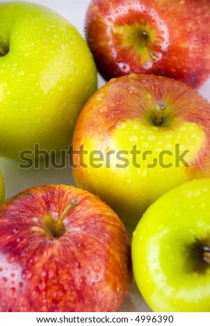 Fresh wet apples in close up