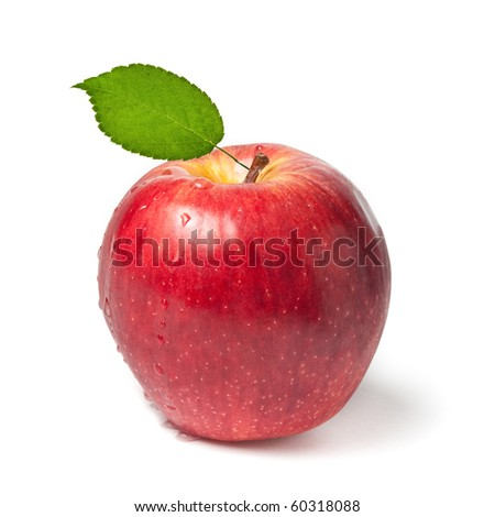 Fresh wet red apple with green leaf on white background - stock photo