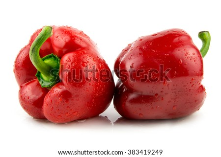 fresh wet red paprika isolated on white / Red pepper isolated on white background - stock photo