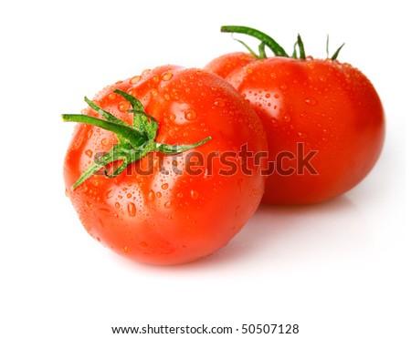 fresh wet tomato fruits  isolated on white background - stock photo