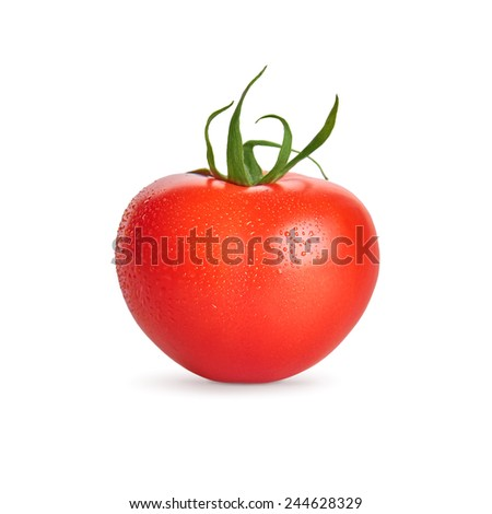 Fresh wet tomato vegetable with water drops isolated on white background - stock photo