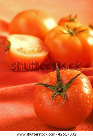 Fresh wet tomato with tomatoes background - stock photo