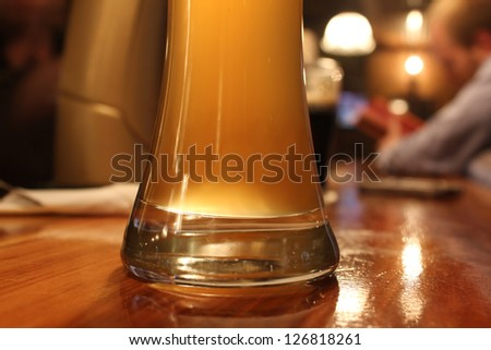 fresh wheat beer served in a pub