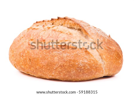 Fresh wheat bread. Isolated on white background - stock photo