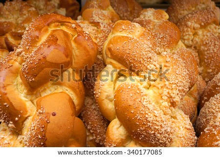Fresh wheaten loafs. White bread. - stock photo