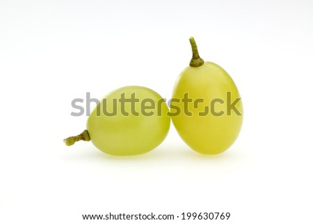 Fresh white grapes isolated on white. - stock photo