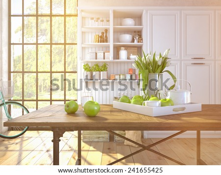 fresh white tulips on kitchen background. 3d rendering - stock photo
