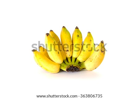 Fresh whole bananas. Isolated on white background. - stock photo
