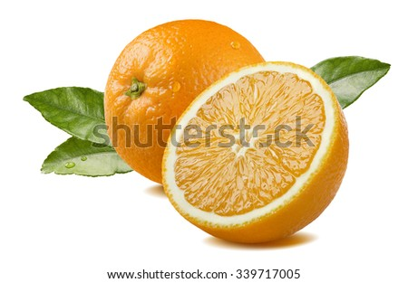 Fresh whole orange half piece with leaves and water drops isolated on white background as package design element - stock photo
